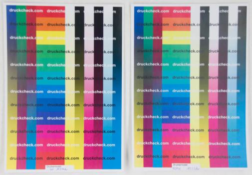 Testkopie in Farbe im Vergleich zum Original