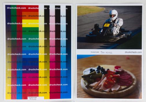 Testausdrucke des H625 in Farbe: Farbtest und Fotodruck