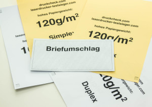 Testdrucke mit verschiedenen Papierstärken